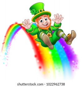 A cute St Patricks day leprechaun cartoon character sliding down a rainbow