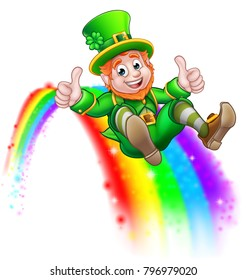 A cute St Patricks day leprechaun cartoon character sliding on rainbow and giving a thumbs up