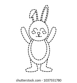cute standing little bunny with hands up vector illustration sticker design