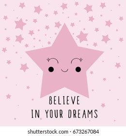 cute star illustration vector with slogan for print.