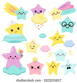 Cute stars vector illustration for kids. isolated design children, stickers. Baby shower little stars in kawaii style