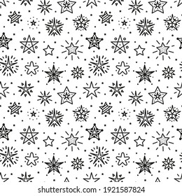 Cute Stars Vector Seamless Pattern. Starry Sky Background of Doodle Different Star Icons. Festive Stars Black and White Wallpaper. Holiday and Birthday Party Design