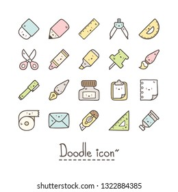 Cute stationery icons. Kawaii style icons.