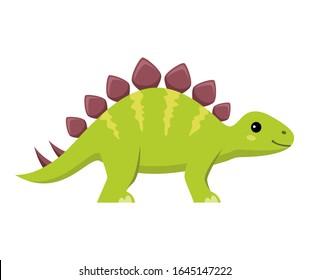 Cute stegosaurus cartoon on white background, vector illustration
