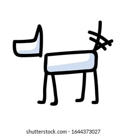 Cute stick figure dog wagging tail vector clipart. Bujo bullet journal style adorable cartoon puppy. Happy pet pooch for dog lovers EPS 10.