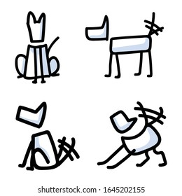 Cute stick figure dogs set wagging tail vector clipart. Bujo bullet journal style adorable cartoon puppy training to sit. Simple pet pooch care illustration. EPS 10.
