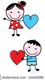 Cute stick figure Kids holding Valentine's Day hearts