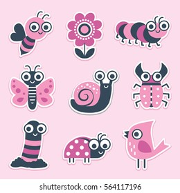 Cute sticker collection of happy vector cartoon bugs, insects and garden elements in pink and navy blue. Set includes bee, flower, caterpillar, butterfly, snail, beetle, worm, ladybug, bird.