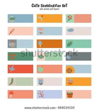cute stickers calendar planners note paper stock vector royalty