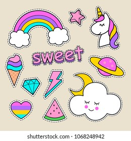cute stickers for children, vector stickers. cute illustration. unicorn, lightning, rainbow, watermelon, lightning, cloud, letter, stars, heart, planet, ice cream, cactus. flat vector clip art