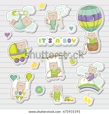 Cute Stickers Patches Baby Shower Party Stock Vector (Royalty Free