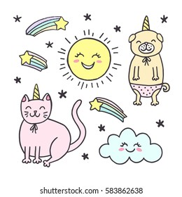 Cute stickers, patches. Vector illustration. Dog and cat with corns and stars, sun and cloud. Doodle hand drawn sketch.