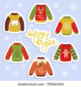 cute stickers set with different holiday sweaters with merry and bright text message. winter holiday stickers set