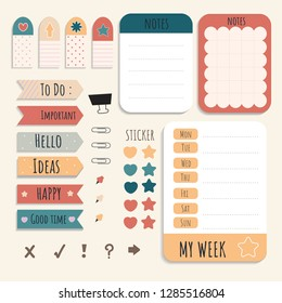 Cute sticky note papers printable set