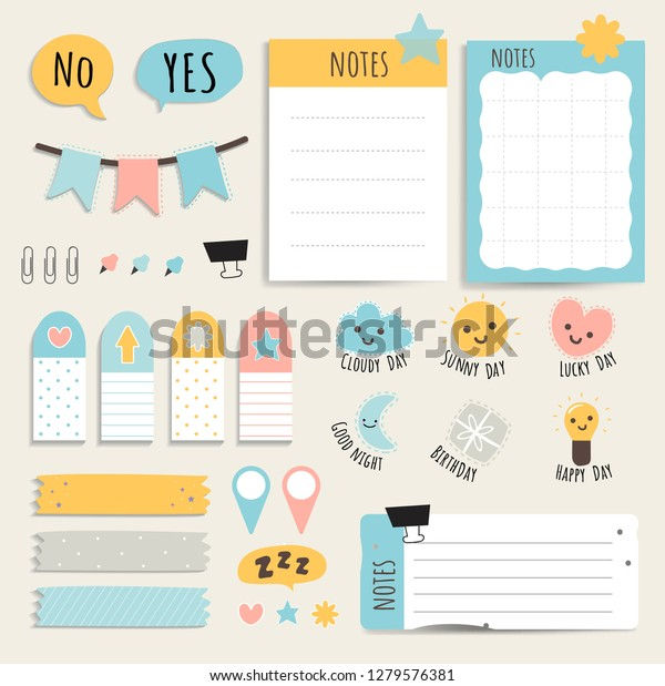picture about Printable Note Papers referred to as Lovely Sticky Observe Papers Printable Fixed Inventory Vector (Royalty