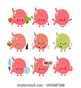 Cute stomach set. Healthy and unhealthy human organ. Vector modern style cartoon character illustration icon design. Healthy food,nutrition,stomach concept