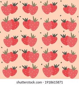 Cute strawberries seamless vector pattern background design illustration