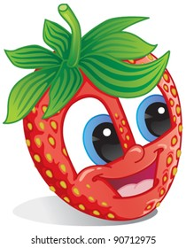 Cute Strawberry fruit character with happy smile for strawberry-flavored fruit candy or drink