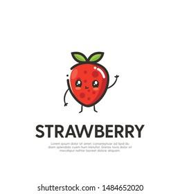 Cute Strawberry Mascot Logo Design Vector