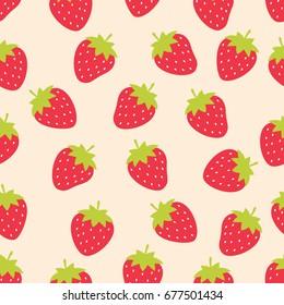 Cute strawberry seamless pattern
