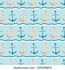 Cute stripe marine anchor seamless vector pattern. Hand drawn ocean sailing tile. All over print for seafaring blog, nautical graphic, preppy sailor fashion allover print. Maritime home decor textiles