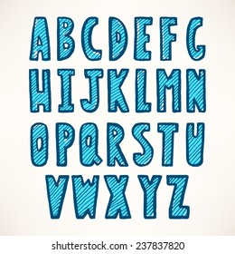 cute striped blue hand-drawn font