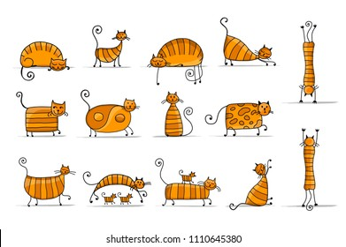 Cute striped cats family, sketch for your design. Vector illustration