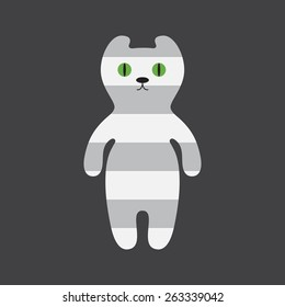 Cute striped grey cat with round green eyes and black nose isolated on dark grey background. Logo template, design element