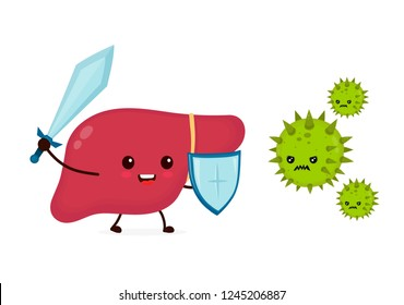 Cute strong happy smiling healthy liver with sword and shield fighting with virus. Vector flat cartoon character illustration icon design.Isolated on white background. Healthy liver,hepatitis concept