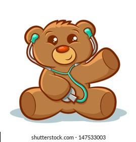Cute stuffed teddy bear using a stethoscope/Vector Doctor Teddy Bear