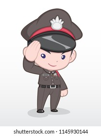 Cute Style Cartoon Thai Police Officer Standing and Saluting Illustration