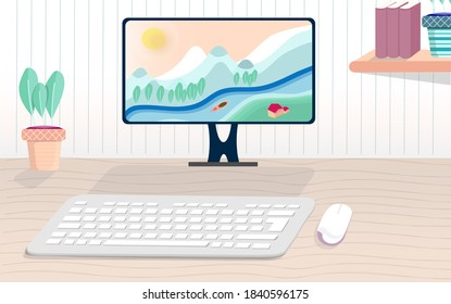 cute style desktop pc mockup with 3d illustration of keyboard and mouse with wooden desk