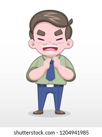 Cute Style Middle-Aged Japanese Salaryman in Green Shirt Clapping Cheerfully Vector Illustration