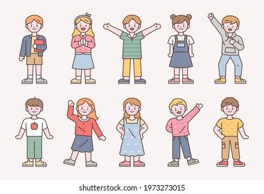 Cute stylish children character set.  flat design style minimal vector illustration.
