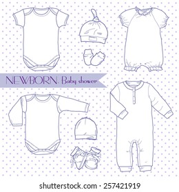 Cute and stylish set of clothes for newborns: hats, bodysuit, booties and mittens.  Suitable Clothing for newborns, posters, children's decor, and a children's holiday, baby shower.