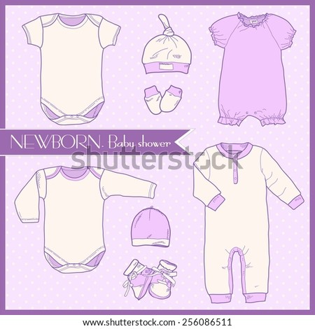 1daae25dfb1 Cute Stylish Set Clothes Newborns Hats Stock Vector (Royalty Free ...