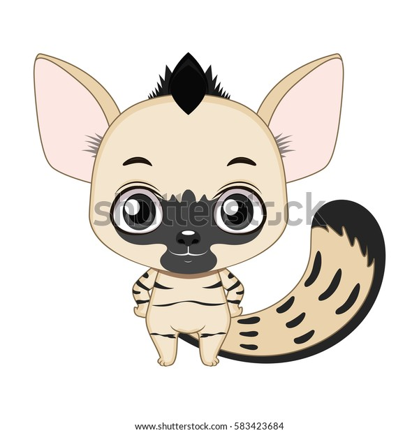 Cute stylized cartoon aardwolf illustration ( for fun educational purposes, illustrations etc. )