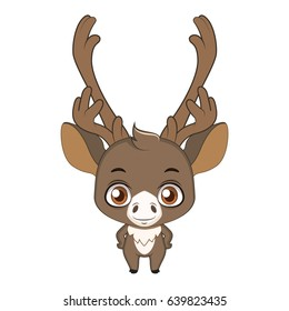 Cute stylized cartoon caribou illustration ( for fun educational purposes, illustrations etc. )