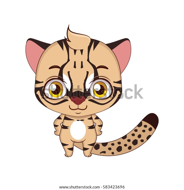 Cute stylized cartoon Iriomote cat illustration ( for fun educational purposes, illustrations etc. )