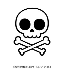Cute stylized cartoon skull and crossbones doodle. Simple hand drawn Jolly Roger sign, isolated vector illustration.