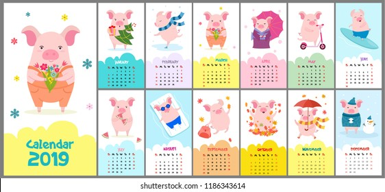 Cute, stylized hand-drawn monthly 2019 calendar with pigs. Can be used for banner, poster, card, postcard and printable.