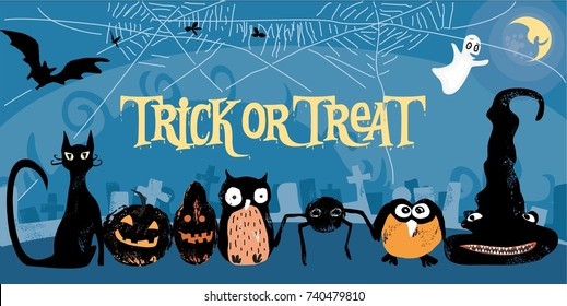 cute, stylized vector Halloween poster with text trick or treat, cat,  bat, owl, hat, moon, spooky, cemetery, spider and net. great  for Halloween party invitation card, background and other prints