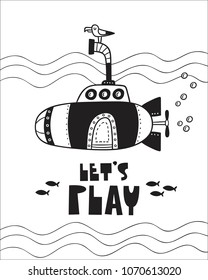 Cute Submarine Poster For Baby Room Greeting Card Print On The Wall