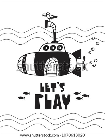 Cute Submarine poster for