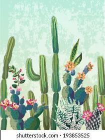 Cute succulents cactus vector pattern