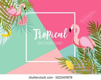 Cute Summer Abstract Frame Background with Pink Flamingo Vector Illustration EPS10
