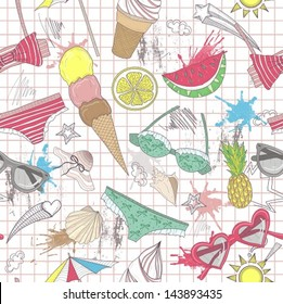 Cute summer abstract pattern. Seamless pattern with swimsuits, sunglasses, suns, ice creams, and seashells . Fun pattern for children or teenager girls.