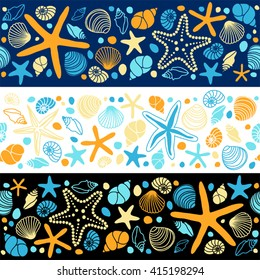 Cute summer background with different shells and starfishes as seamless borders for your decoration