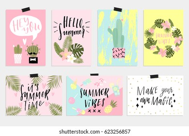 Cute Summer cards, posters set with cactus, palm tropical leave and inspirational lettering. Invitation, greeting card, friend letter, vacation flyer, bright colors background. Horizontal and vertical