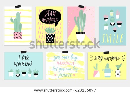 f9b4ef317 Cute Summer Cards Posters Set Cactus Stock Vector (Royalty Free ...